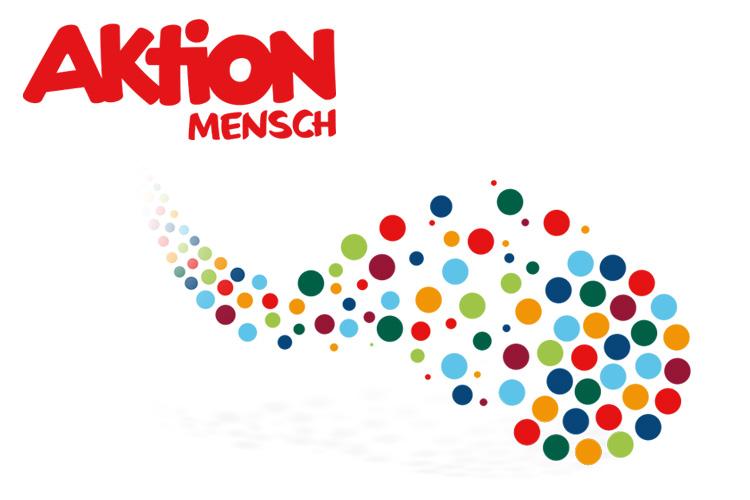 Logo der Aktion Mensch und Wolken aus bunten Punkten