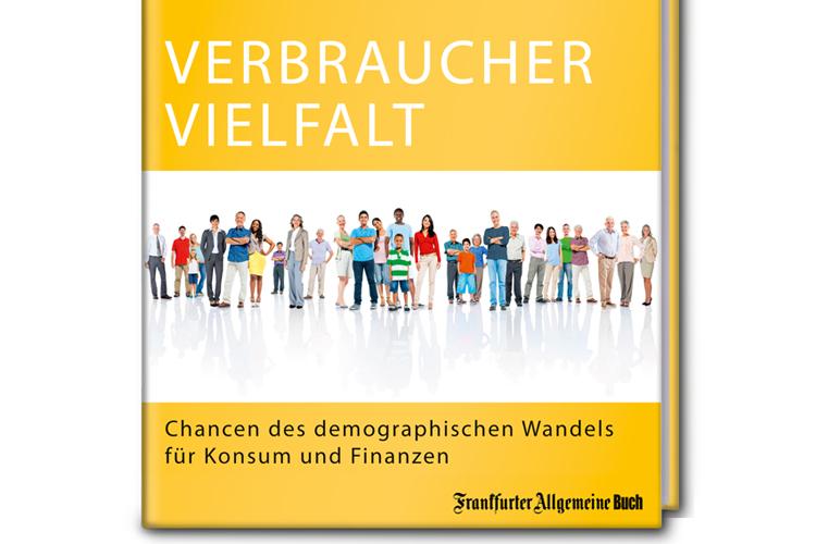 Gelbes Cover des Buches Verbrauchervielfalt auf dem viele Menschen nebeneinander abgebildet sind