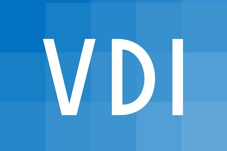 Logo vom VDI mit weisser Schrift auf blauem Grund