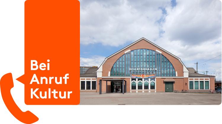 """Ansicht Fassade Deichtorhalle kombiniert mit Telefonhörer und Sprechblase """"Bei Anruf Kultur"""""""