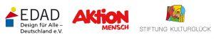 Logos Unterstützer EDAD, Aktion Mensch und Stiftung Kulturglück