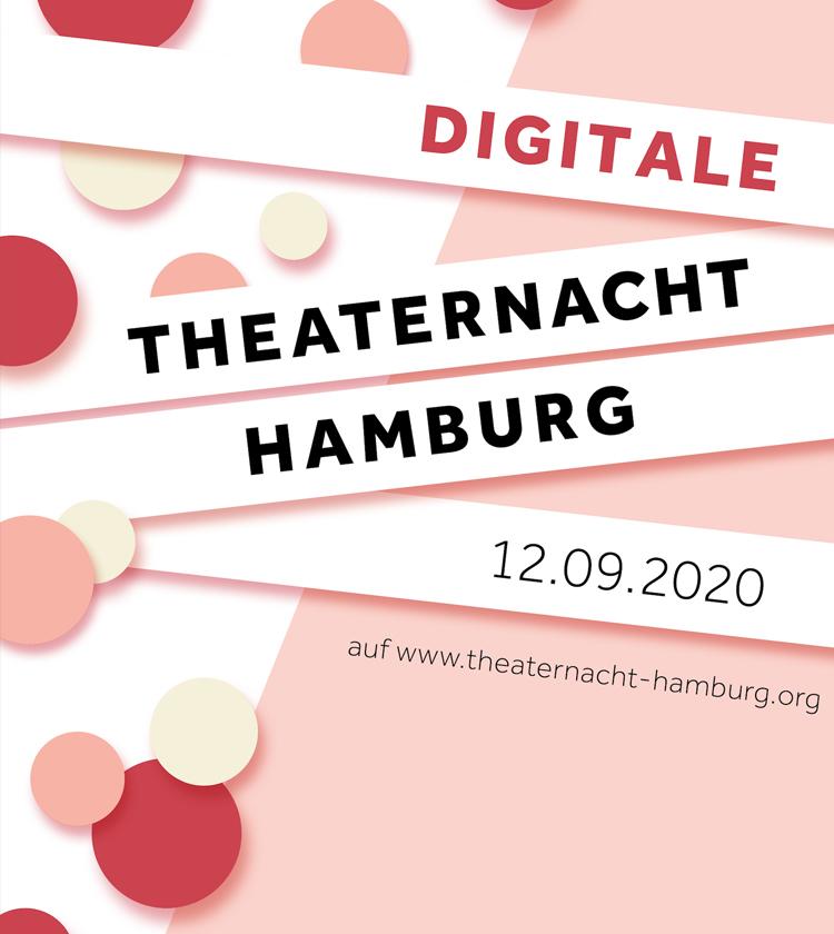 Logo der Theaternacht Hamburg mit Textstreifen vor einem pastellfarbigen Hintergrund auf dem runde Kreise wie Konfetti liegen
